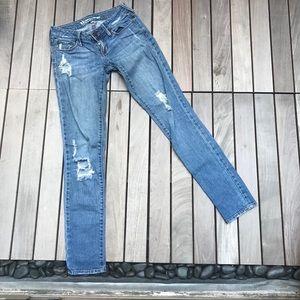 Bullhead | Blue Denim Ripped Super Skinny Jeans